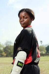 Dalitso, bowler/batsman, Malawian Under 19 Women's Cricket Team, Blantyre, Malawi, 2016.
