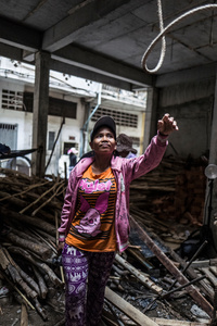 Douek Hut 29 from Pursat Province has been working in construction for 7 years. She feels her boss looks down on her and is in conflict with many of the male workers on the site.