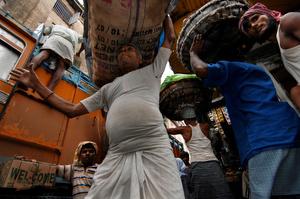 The crowded old market. Kolkata, India.