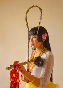 The traditional musician and folk artist, Mangka Mayanglambam, plays Pena, the indigenous musical instrument of the Meitei of Manipur.