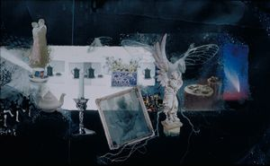 """Roots and Wings, Detail, right hand segment of 5ft long silver print of photographs and photograms with gouache, c. 24""""x 60"""" © joanne Leonard"""