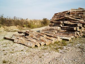 Parts of dismantled tracks near the former Gross-Rosen concentration camp.