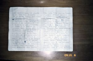 Pozzuoli, Naples. Letter of a woman detained in the female prison in Pozzuoli. In the letter she describes the conditions on the inside; in a cell with room for 4 beds, there are 14 mattresses on the floor, people sleep on top of each other, guards don't deliver money that relatives bring for the prisoners and the pasta has worms in it. © Valerio Spada.