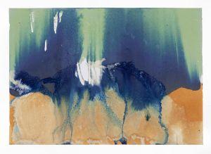 "Littoral Drift Nearshore #472 (Bainbridge Island, WA 10.18.16, Two Waves, Poured, Dawn to Dusk) 24x36"", Unique Cyanotype"