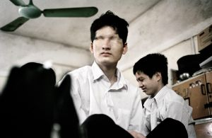 Hanoi, Vietnam 2006. An Agent Orange victim, student at Nguyen Dinh Chieu's School.