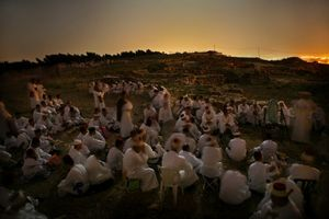 Samaritan pilgrims on Mt. Grizim before dawn © Natan Dvir