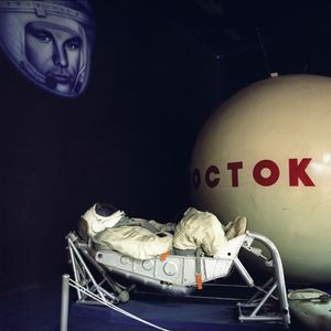 Vostok spacecraft, cosmonaut dummy, installation, Museum of the House of Cosmonauts, Star City.           © Maria Gruzdeva
