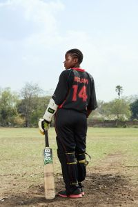 Daina, batsman, Malawian Under 19 Women's Cricket Team, Blantyre, Malawi, 2016.