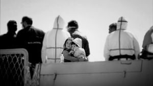 Augusta, Italy (2015). In port, on an Italian Navy ship, after being rescued at sea. Big things happening to little people.