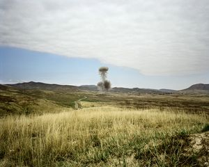 UNRECOGNIZED REPUBLIC OF NAGORNO-KARABAKH / Near Askeran / 8.09.2011. Controlled detonation of dangerous remains of the Nagorno-Karabakh war, e.g. tank mines and 'UXO' (Unexploded Ordnance) which have accumulated during the clearing of mines by the mine-clearing organization 'Halo Trust'. Almost 20 years after the end of the Nagorno-Karabakh war the country is far from being cleared of mines.