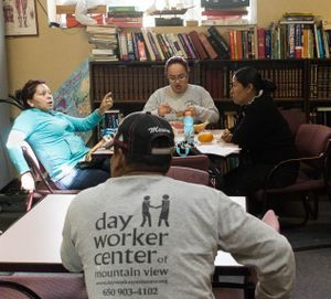 Discussion at Day Workers Center During Lunch