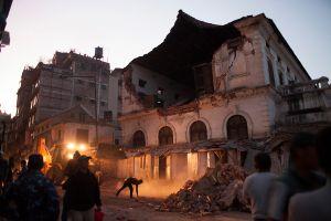 A broken school building in Katmandu, Nepal, 03 May 2015.