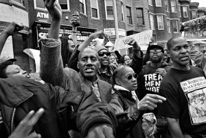 Baltimore, Md-Protesters on the streets celebrating criminal charges filed against the six police officers involved in the death of Freddie Gray.