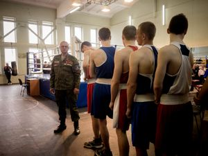 Boxing competition between cadets from Luhansk and Donetsk.