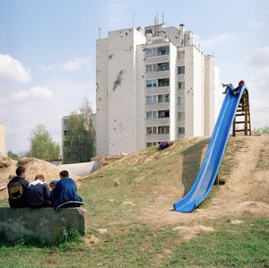 Children playing the the main park of the Borovo Naselje. © Colin Dutton