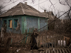Abandoned house near the airport of Donetsk.