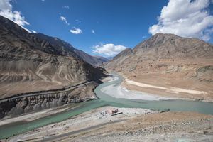 Confluence of the Indus and the Zanskar rivers