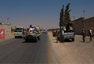 On the outskirts of Aleppo. Syrians and the FSA flee Salaheddin.