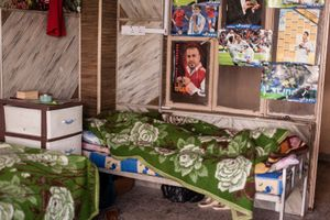 07/02/15 -- Sulaimaniyah, Iraq -- The room of Utto and Khaled, from Shingal. They live together here, and work in the streets selling cigarettes.