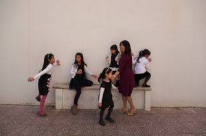Kids play in the back of the Filipino adventist Church in Rione Monti, downtown Rome.