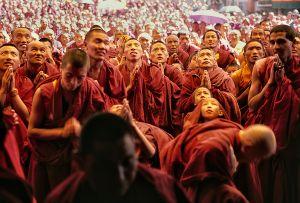Spiti, India: Humble, dedicated Tibetan monks in the Ki monastery during the visit of his holiness Dalai Lama, their spiritual and political leader. © Matjaz Krivic