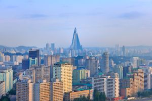 Sity view with the Ryugyong pyramid hotel in the distance.