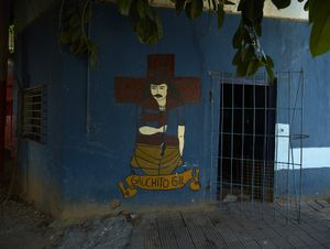 Private house of an elderly devotee who painted  by himlself the icon of Gauchito Gil on the main facade in Corrientes Capitale