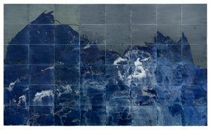 "Littoral Drift Nearshore #464 (Polyptych, Bainbridge Island, WA 12.07.16, Seven Simulated Waves, Freezing and Melting)114x192"", Unique Cyanotype"