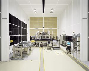 Assembly of the Near InfraRed Spectrograph in the ESA-NASA James Webb Space Telescope, Class 5 Integration Facility, Germany. The telescope is a multi-object spectrograph capable of observing more than 100 astronomical objects simultaneously over a wide field of vision. © Edgar Martins