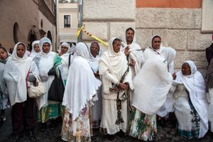 Women of the Eritrean Orthodox Tewahdo community gather for St. Michael's Day celebrations in Piazza San Salvatore in Campo, downtown Rome.