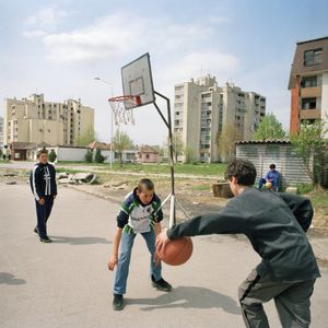 Children playing in Borovo Naselje, the residential area built around the shoe factory to house its workers and provide them with shops, schools, cinema and sports centres. © Colin Dutton
