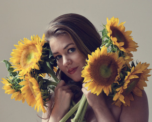 Rebecca With Sunflowers