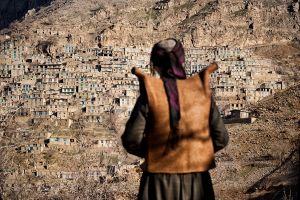 Uramantakht, Iran: A kurdish man looking towards his village during a festival of Pir Shaliar. © Matjaz Krivic