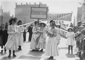Christina Broom (1862-1939). Young suffragettes advertising for the exhibition at the Women's Exhibition of Knightsbridge. London, May, 1909.