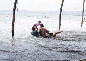 Family enjoying their Summer break. Barra de Potosi. Zihuatanejo.