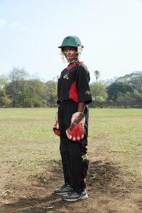 Marya, wicket keeper, Malawian Under 19 Women's Cricket Team, Blantyre, Malawi, 2016.