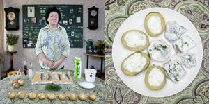 Inara Runtule, 68 years old  Kekava, Latvia. Silke (herring with potatoes and cottage cheese) © Gabriele Galimberti