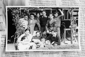 With friends from convalescence home (Shmuel - thirsd from left, back row).