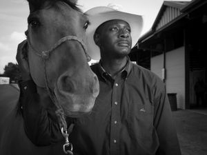 Derry L. Pierce traveled from Sauk Village, IL to the Bill Pickett Rodeo in Atlanta, GA on August 2 & 3, 2014. Derry is a police detective and this was only his third rodeo. He planned to compete in calf roping. © Forest McMullin