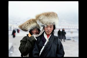 Pilgrimage on the top of the world, Tibet. In early November, when harvest is completed, more than 20,000 people come from all over the region to make a pilgrimage. © Lâm Duc Hiên
