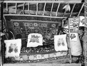 Kazakh Ger Bed (Nomadic Mongolia #45), 2004. © Elaine Ling