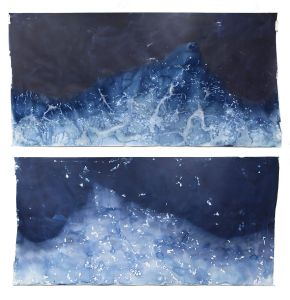 """Littoral Drift #417 (Recto/Verso, South Beach, Lake Michigan, Sheboygan, WI 01.06.16, Five Overwash Waves, Draped Over Suncups and Corn Snow)42x96"""", Unique Cyanotype"""
