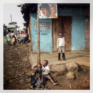 Children play outside a house in Kibera. The Kibera slum is the largest slum in Nairobi with around half a million inhabitants.