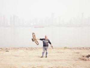 Kite flyer.  Hankou, Wuhan.