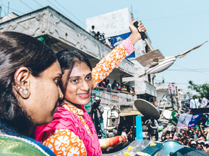 Sharmila holds up her fan base. Hyderabad, TS, 2014.
