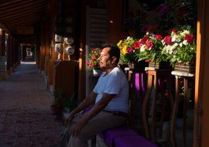Atanasio at his flower shop. Zihuatanejo.