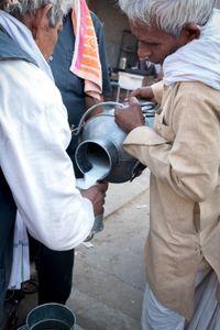 A local man buys milk