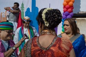 some of India's key LGBT activists before the start of Mumbai's gay pride march this year - In blue is transgender activist Laxmi Narayan Triathi.