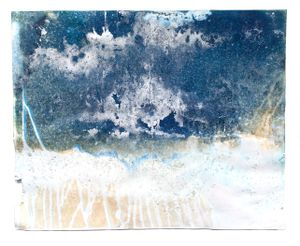 """Littoral Drift #426 (Tellen Cabin, Sheboygan, WI 01.12-15.16, Buried in Snowpack, Overnight Accumulation of Snow, Melting Icicles and Excavated with Salt for Snow Ablation)19x24x1"""", Unique Cyanotype"""