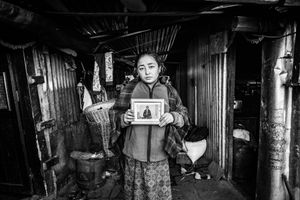 Ram Maya Ghale, the resident of Barpak next to her home; she lost family in the 2015 earthquake. Barpak, Gorkha District.